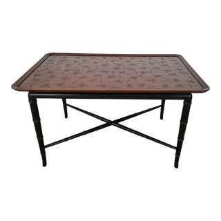 Stunning Vintage Kittinger Coffee Table With Faux Bamboo Legs Incised Design on Top. For Sale