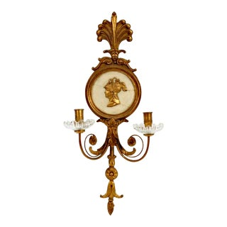 Early 20th Century Italian Giltwood Carved Sconce Candle Holder For Sale
