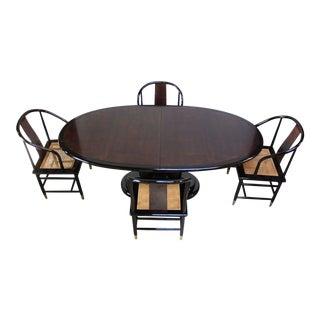Vintage Henredon Black Lacquer and Burl Dining Set For Sale