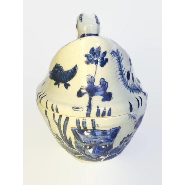 Asian Mid Century Chinese Porcelain Tureen Duck Serving Bowl Lidded Dish Cobalt Blue White For Sale - Image 3 of 10