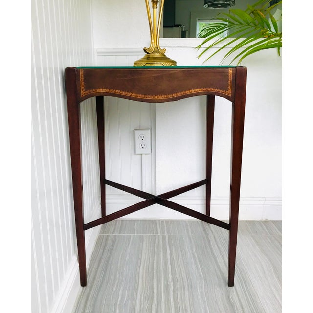 Antique French Game Table With Leather Top From John Wanamaker For Sale - Image 10 of 11