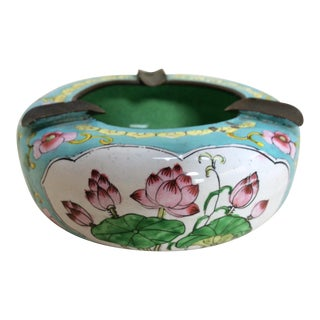 Canton Enamel Floral Ashtray For Sale