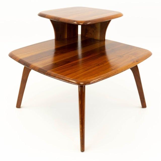 Mid CenturyModern Walnut Corner Side Table For Sale - Image 10 of 10