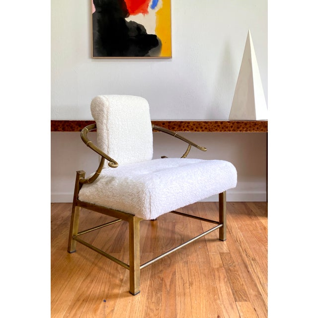 Hollywood Regency Vintage Mastercraft Brass Empress Lounge Chair in Faux Shearling For Sale - Image 3 of 10