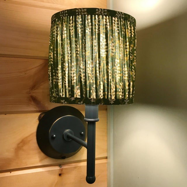 Not Yet Made - Made To Order Green Block Print Gathered Sconce or Chandelier Shade For Sale - Image 5 of 6