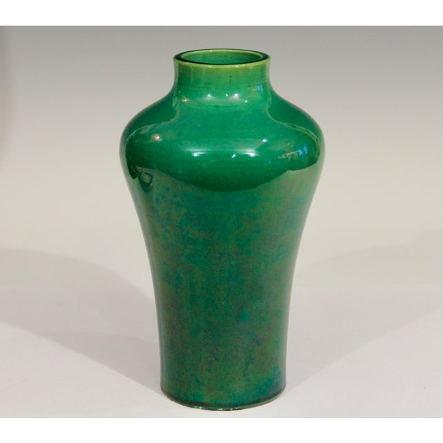 Antique Awaji pottery vase in meiping form with organic Art Nouveau lines and even, emerald green monochrome glaze, circa...