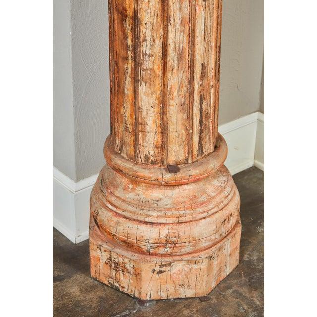 Pair of Orange Tall Indian Teak Wood Pillars - Image 8 of 9