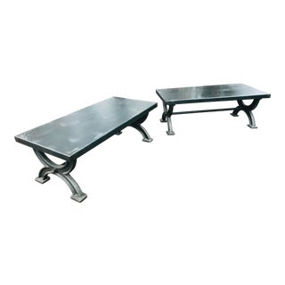 Transitional Restoration Hardware Matching Metal Coffee Tables - a Pair For Sale