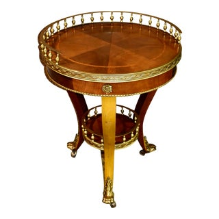 Italian Table with Brass Gallery and Brass Ormolu on Castors For Sale