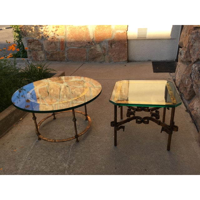 1950s Spanish Gilt Iron Side Tables - Set of 2 For Sale - Image 5 of 13