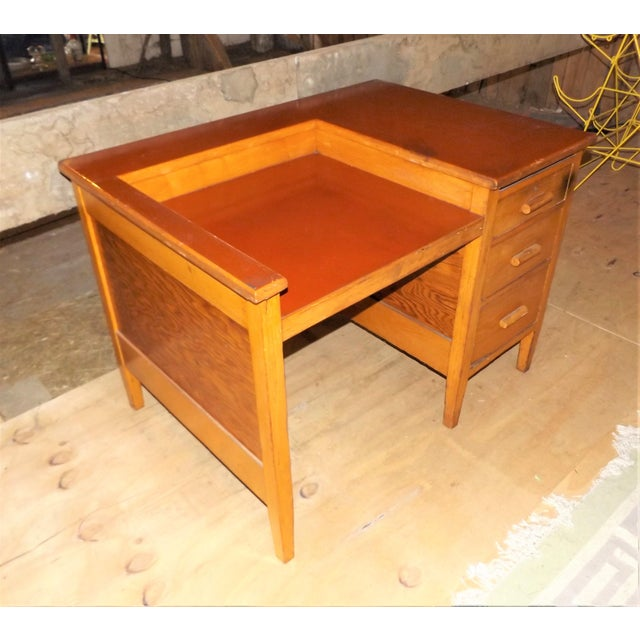 1960s Rustic Oak Writing Desk For Sale - Image 4 of 10