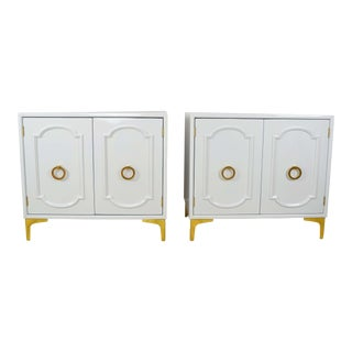 Vintage Glossy White Side Tables With Gold Accents – a Pair For Sale