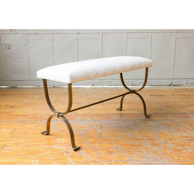 Gilt Iron Bench with Double Inverted U Frame - Image 7 of 8