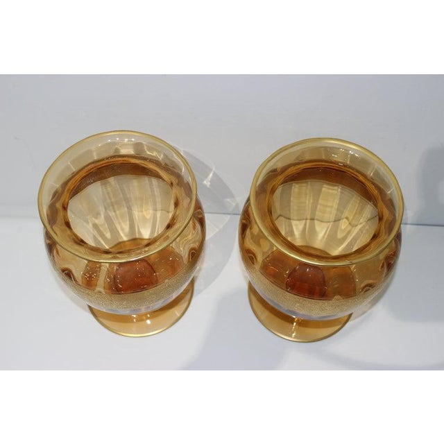 This large scale and stylish pair of Moser Glassorks vases date to the late 1920s-1940s and were acquired from a Palm...