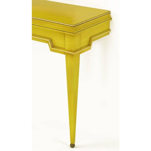 Empire Style Console and Mirror in Glazed Yellow Lacquer For Sale In Chicago - Image 6 of 10
