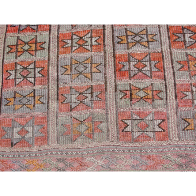 "Orange Vintage Turkish Kilim Rug - 4'9"" x 5'1"" For Sale - Image 8 of 11"