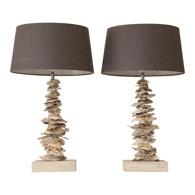 Fine Pair Of Custom Oyster Shell Lamps Decaso