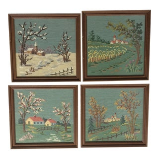 Vintage Four Seasons Framed Needlepoint - Set of 4 For Sale