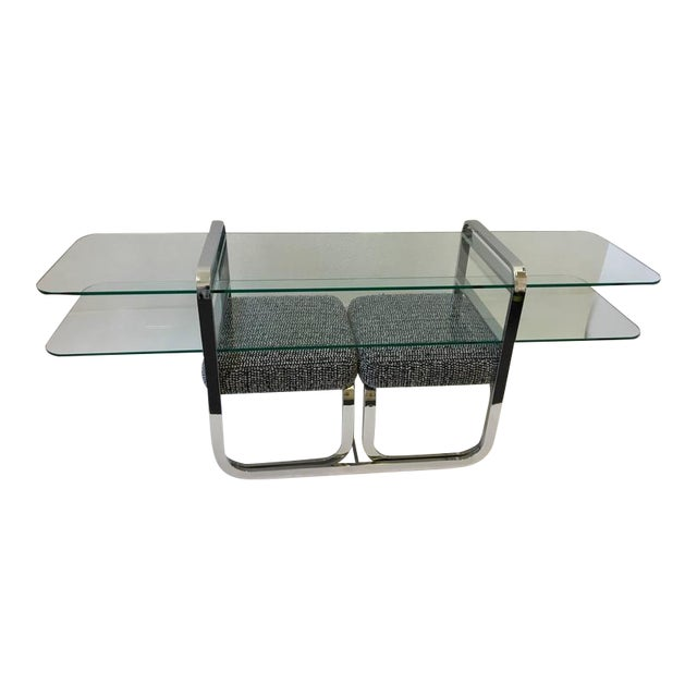 Chrome and Glass Console Table and Pair of Ottomans by DIA - Image 1 of 10