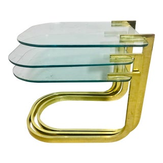 Milo Baughman Mid-Century Modern Gold & Glass Nesting Tables - Set of 3 For Sale