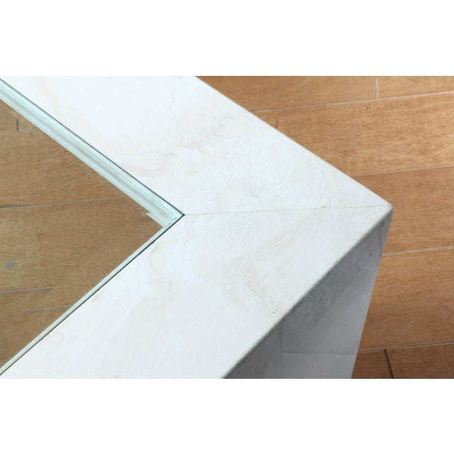 Glass Mid Century Travertine Coffee Table For Sale - Image 7 of 8
