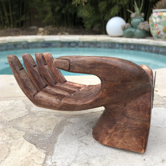 Primitive Bohemian Carved Wooden Human Hand Sculptural Shelf For Sale - Image 10 of 10