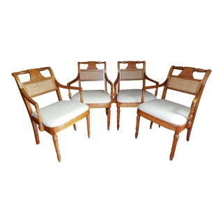 1960's Vintage Stickley Leather Seat Arm Chairs- Set of 4 For Sale