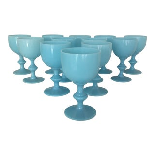 1900s Boho Chic Portieux Vallerysthal Blue Opaline Wine Goblets - Set of 12 For Sale