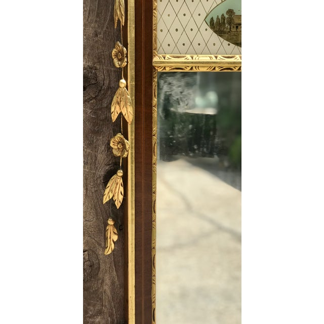 Mid 20th Century 20th Century Chippendale Style Mahogany Mirror With Gilt Inlaid and Eglomise Panel For Sale - Image 5 of 8