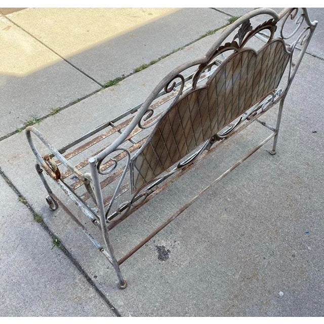 French Antique Wrought Iron Outdoor Folding Bench For Sale - Image 4 of 12