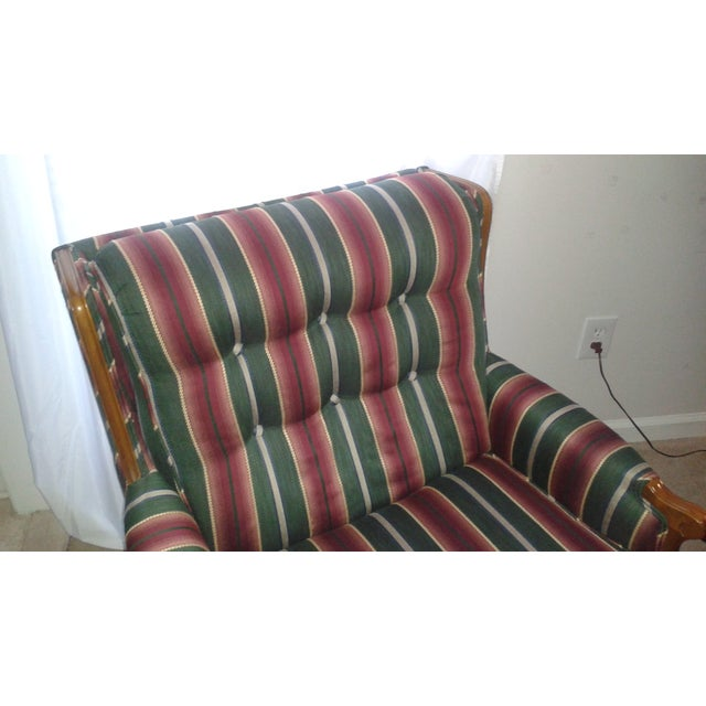 Striped French Provincial Arm Chair - Image 4 of 5