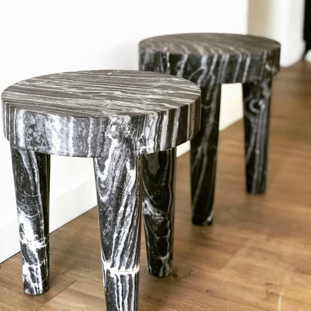Abstract Expressionism Post Modern Sculptural Marble Accent Table (2 Available) For Sale - Image 3 of 5