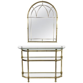 French Vintage Brass Mirror and Console, 1970s For Sale