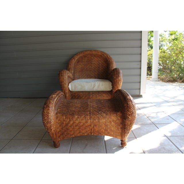 Wondrous Pottery Barn Rattan Malabar Chair Ottoman Caraccident5 Cool Chair Designs And Ideas Caraccident5Info
