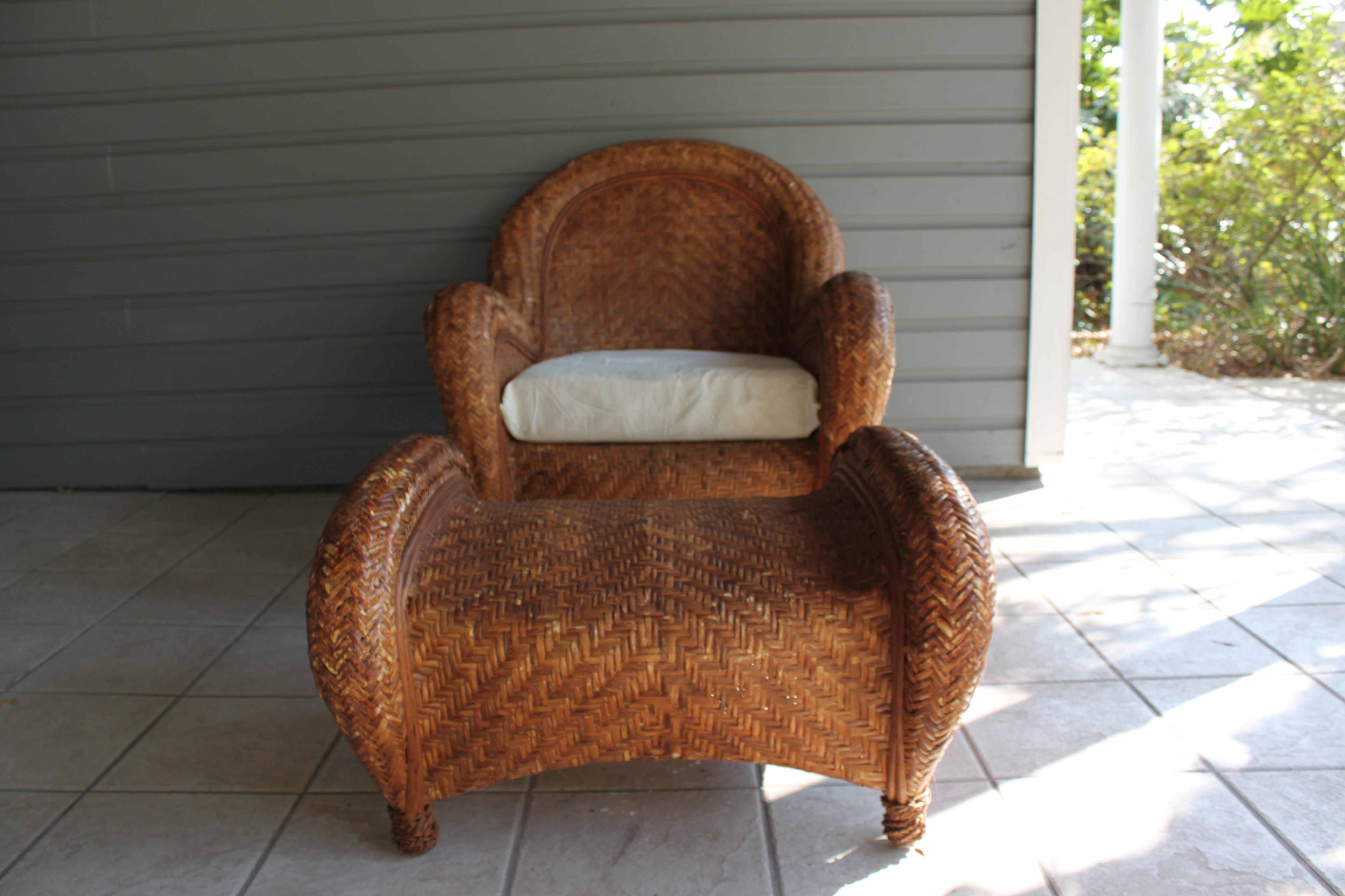 Superb Pottery Barn Rattan Malabar Chair U0026 Ottoman   Image 2 ...