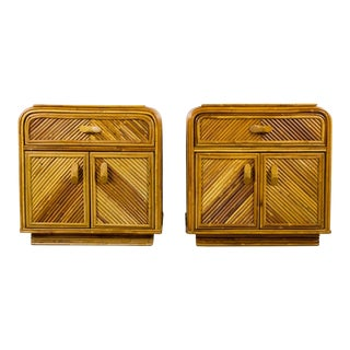 Mid-Century Modern Bamboo Side Tables After Paul Frankl - a Pair For Sale