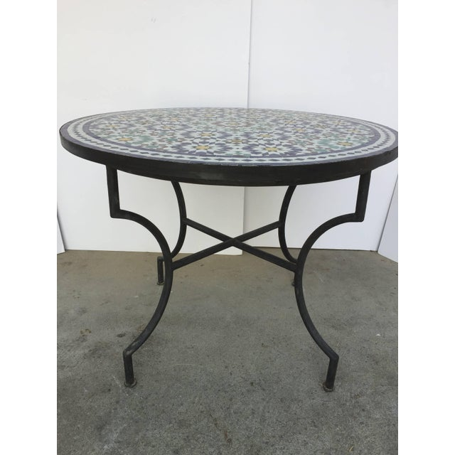 Moroccan Outdoor Mosaic Tile Table From Fez in Traditional Moorish Design For Sale - Image 9 of 9