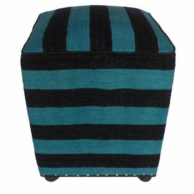 2010s Arshs Deedra Blue/Black Kilim Upholstered Handmade Ottoman For Sale - Image 5 of 8