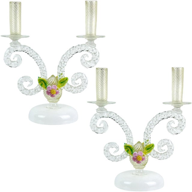 Antique Murano White Filigrana Gold Leaf Flowers Italian Art Glass Mid Century Candlesticks - a Pair For Sale - Image 10 of 10
