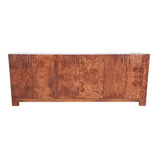 John Widdicomb Mid-Century Modern Burl Wood Sideboard Credenza or Bar Cabinet, Newly Restored For Sale
