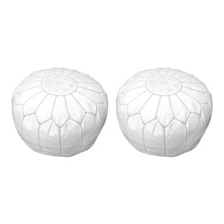 Modern White Moroccan Handmade Leather Pouf - a Pair For Sale
