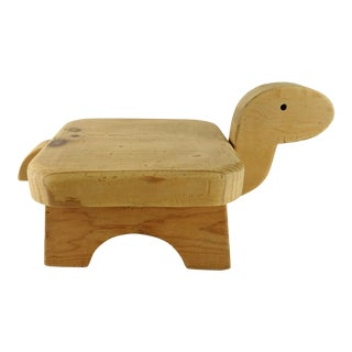Scandinavian Style Hand Crafted Children Wooden Foot Stool For Sale