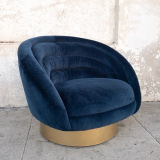 Modern Navy Blue Velvet Custom Swivel Club Chair Preview