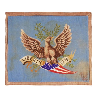 Vintage American Handhooked Beige and Blue Wool Rug With Eagle Design - 3′4″ × 4′ For Sale