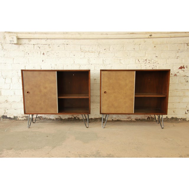 Paul McCobb for Calvin Small Cabinets on Hairpin Legs- a Pair - Image 8 of 9