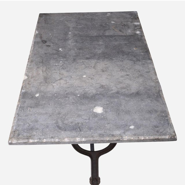 French Blue Stone Bistro Rectangle Table For Sale - Image 4 of 5