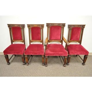 Set 4 Antique Renaissance Revival Figural Lion Carved Oak Side Arm Dining Chairs Preview