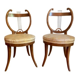 Early 19th Century Antique Lyre Back Biedermeier Chairs- Pair For Sale