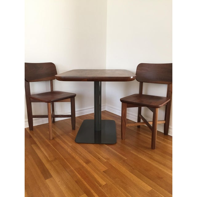 Rich Walnut Cafe Table & 2 Chairs - Image 5 of 9