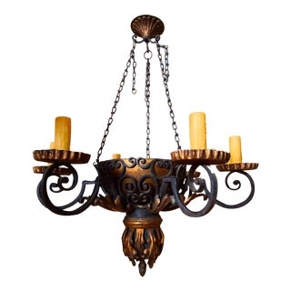 Vintage Wrought Iron Chandelier For Sale